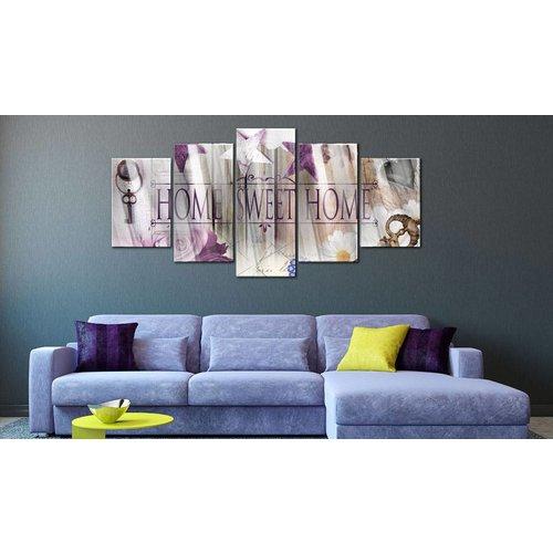 Afbeelding op acrylglas - Home sweet home II, Paars,  5luik