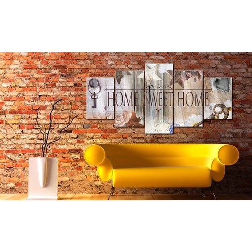 Afbeelding op acrylglas - Home sweet home, Bruin,  5luik
