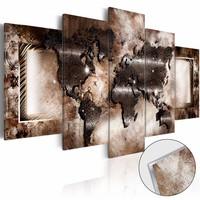 Afbeelding op acrylglas - Platinum Map , wereldkaart, Bruin, 2 Maten, 5luik