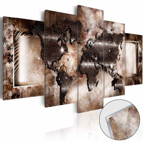 Afbeelding op acrylglas - Platinum Map , wereldkaart, Bruin,  5luik