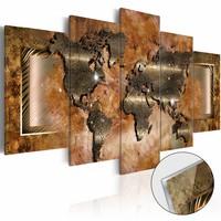 Afbeelding op acrylglas - Stalen map, wereldkaart, Bruin, 2 Maten, 5luik