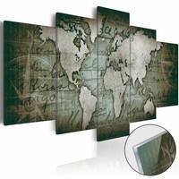 Afbeelding op acrylglas - Wereldkaart op glas, Groen, 2 Maten, 5luik