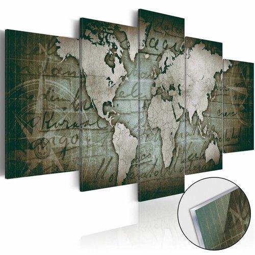 Afbeelding op acrylglas - Wereldkaart op glas, Groen,  5luik