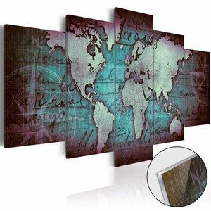 Afbeelding op acrylglas - Wereldkaart op glas, Blauw, 2 Maten, 5luik