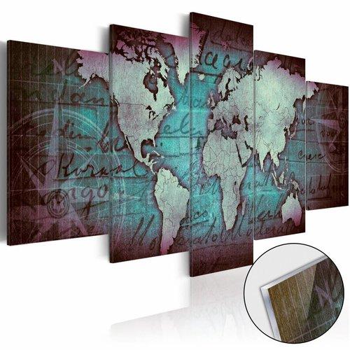 Afbeelding op acrylglas - Wereldkaart op glas, Blauw,  5luik