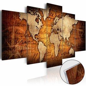 Afbeelding op acrylglas - Bronzen kaart, wereldkaart, Bruin,   5luik
