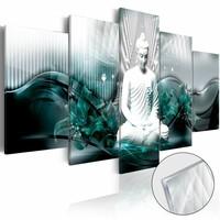 Afbeelding op acrylglas - Azure Meditation , Boeddha, Blauw, 2 Maten, 5luik