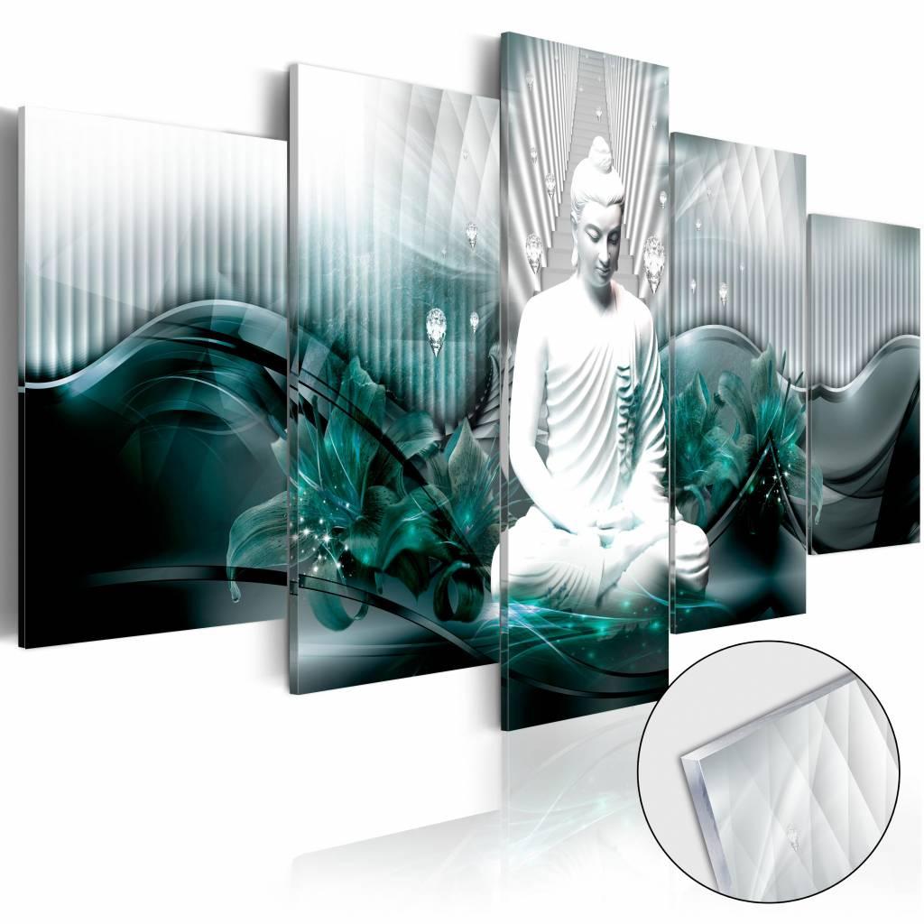 Afbeelding op acrylglas - Azure Meditatie , Boeddha, Blauw, 5luik