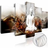 Afbeelding op acrylglas - Crystal Calm , Boeddha, Oranje,   5luik
