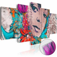 Afbeelding op acrylglas - Kleurrijke vrouw, Multi-gekleurd,  5luik