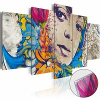 Afbeelding op acrylglas - Bloemen Godin, Multi-gekleurd,   5luik