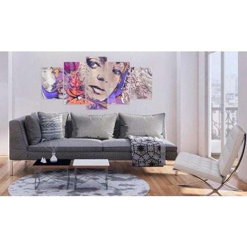 Afbeelding op acrylglas - Urban Fairy, Paars, 2 Maten, 5luik