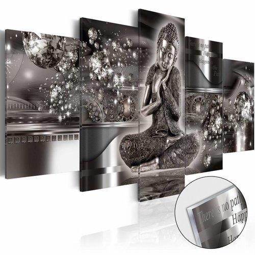 Afbeelding op acrylglas - Silver Serenity , Boeddha, Zilver,   5luik