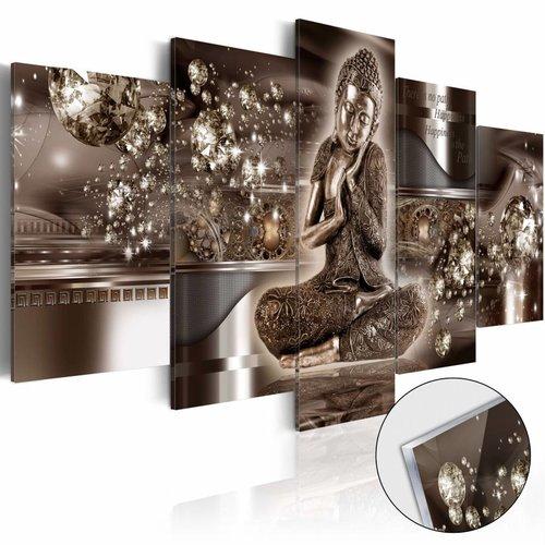 Afbeelding op acrylglas - Innerlijke Harmony, Boeddha, Bruin, 2 Maten, 5luik