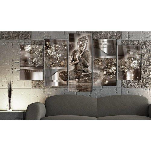 Afbeelding op acrylglas - Innerlijke Harmony, Boeddha, Bruin,  5luik