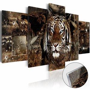 Afbeelding op acrylglas - Bewaker van de jungle, tijger, Oranje,  5luik