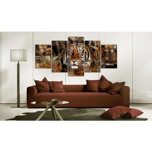 Afbeelding op acrylglas - Gouden jungle, Tijger, Goud/Oranje,   5luik