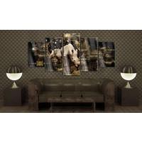Afbeelding op acrylglas - Gouden neushoorn, Goud/Zwart, 5luik