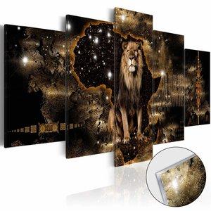 Afbeelding op acrylglas - Gouden Leeuw, Zart/Goud, 5luik