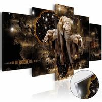 Afbeelding op acrylglas - Olifanten, Zwart/Goud,   5luik