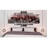 Afbeelding op acrylglas - Verloren stad II, Rood, 2 Maten, 5luik