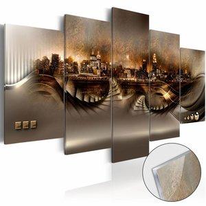 Afbeelding op acrylglas - Verloren stad, Oranje, 2 Maten, 5luik