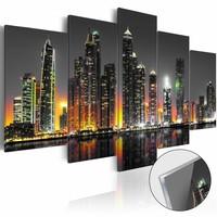 Afbeelding op acrylglas - Desert City , Dubai, Multi-gekleurd,  5luik