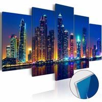 Afbeelding op acrylglas - Nights in Dubai, Multi-gekleurd,  5luik