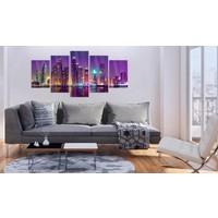 Afbeelding op acrylglas - Paarse nacht, skyline Dubai, 2 Maten, 5luik