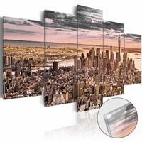Afbeelding op acrylglas - New York, droomstad III, Beige/Roze,  5luik