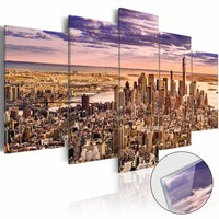 Afbeelding op acrylglas - New York, droomstad II, Beige/Paars, 2 Maten, 5luik