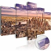 Afbeelding op acrylglas - New York, droomstad II, Beige/Paars,  5luik
