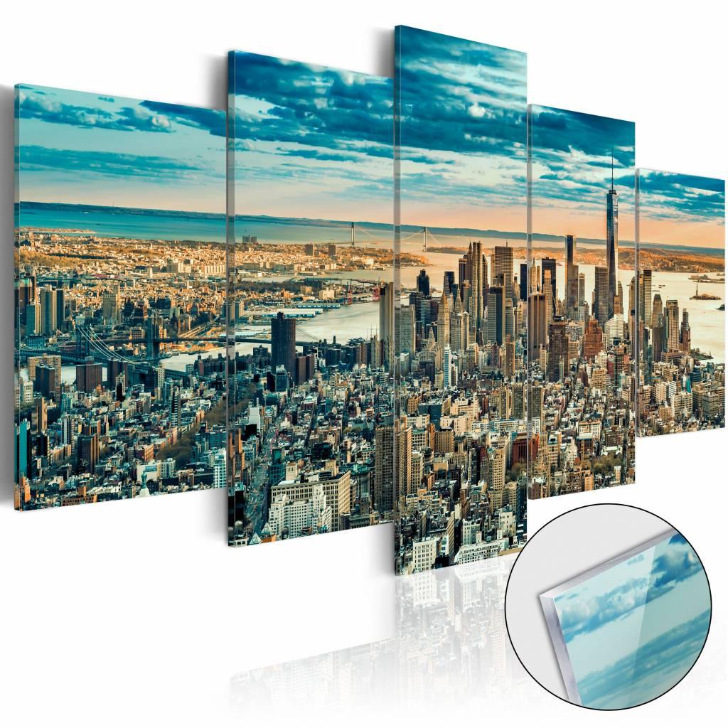 Afbeelding op acrylglas - New York, droomstad, Blauw, 5luik