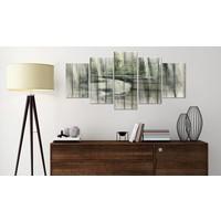 Afbeelding op acrylglas - Rivier van geheimen, Houtlook op doek, Groen, 2 Maten, 5luik