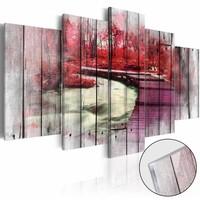 Afbeelding op acrylglas - Geheime bos in het rood, Hout look op Doek, 2 Maten, 5luik