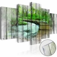 Afbeelding op acrylglas - Bos van geheimen, Hout look op Doek, Groen, 5luik
