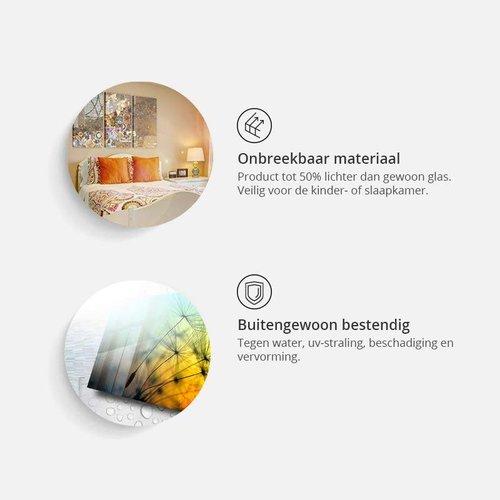 Afbeelding op acrylglas - Bos van geheimen, Hout look op Doek, Groen, 2 Maten, 5luik