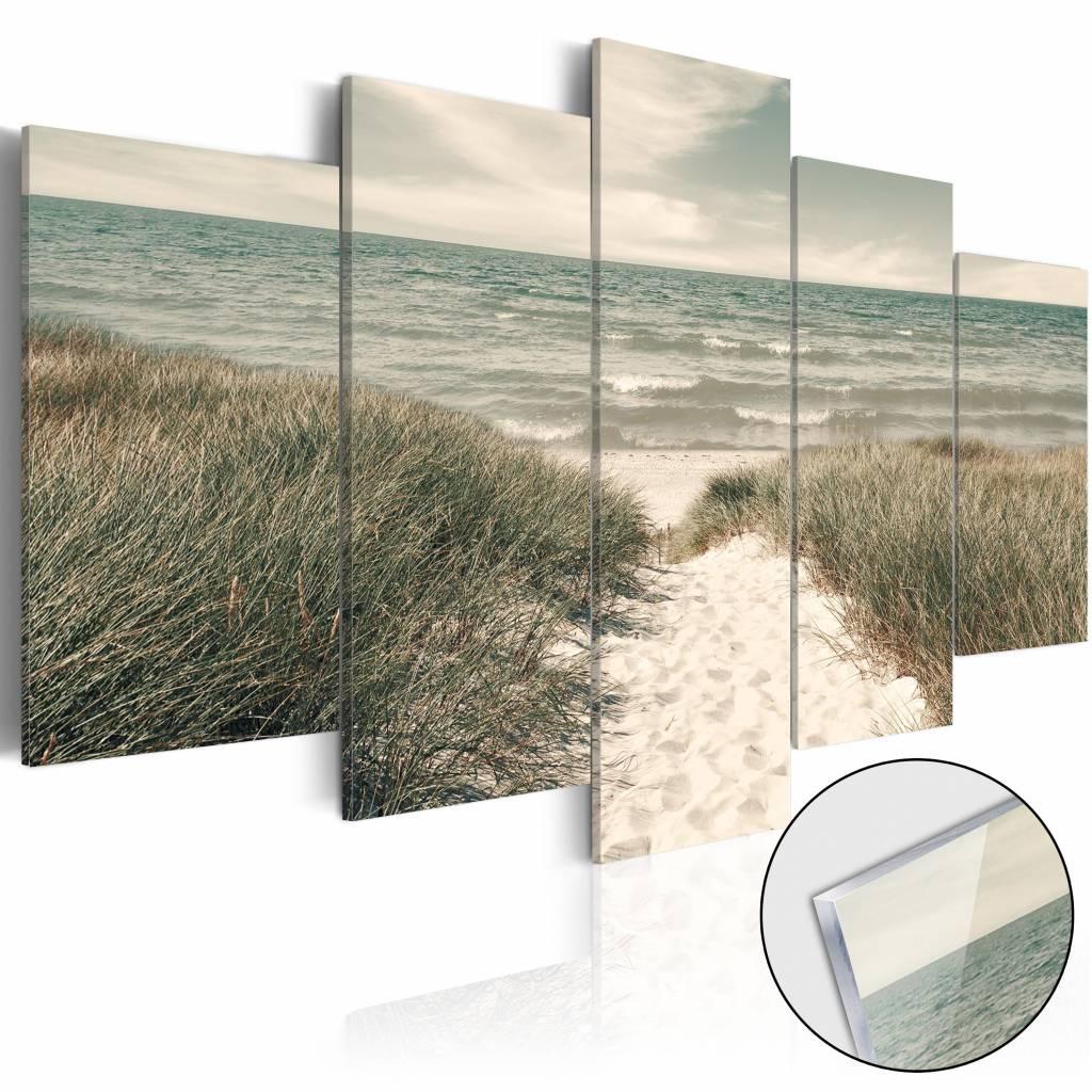 Afbeelding op acrylglas - Stil op het strand, Noordzee, Groen/Beige, 5luik