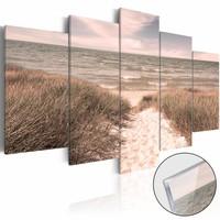 Afbeelding op acrylglas - Noordzee in haar pracht, Roze gloed,   5luik