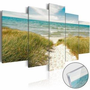 Afbeelding op acrylglas - Pad naar de Noordzee, Groen/Blauw, 2 Maten, 5luik