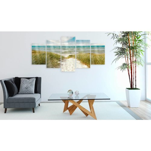 Afbeelding op acrylglas - Pad naar de Noordzee, Groen/Blauw,   5luik