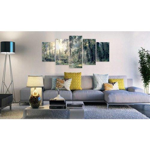 Afbeelding op acrylglas - Sprookjesbos, Groen, 2 Maten, 5luik
