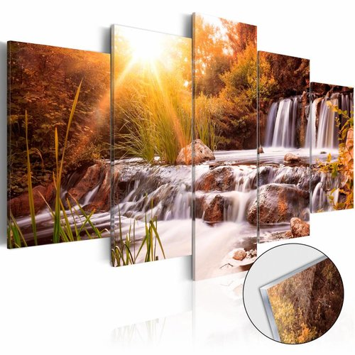 Afbeelding op acrylglas - Waterval, Oranje, 2 Maten, 5luik