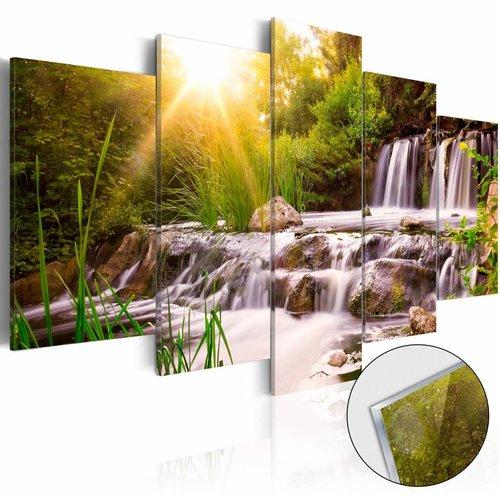 Afbeelding op acrylglas - Waterval in het bos, Groen,  5luik