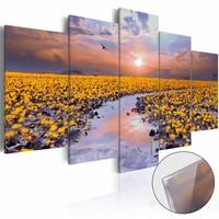 Afbeelding op acrylglas - Rivier van het licht, Geel/Paars, 2 Maten, 5luik