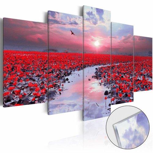 Afbeelding op acrylglas - Rivier van de liefde, Rood/Paars, 2 Maten, 5luik