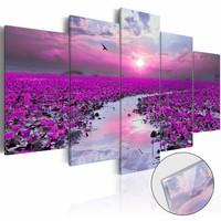 Afbeelding op acrylglas - Magische rivier, Paars,   5luik