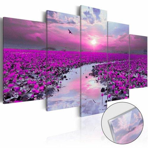 Afbeelding op acrylglas - Magische rivier, Paars, 2 Maten, 5luik