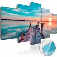 Afbeelding op acrylglas - Vergeten steiger, Blauw, 2 Maten, 5luik