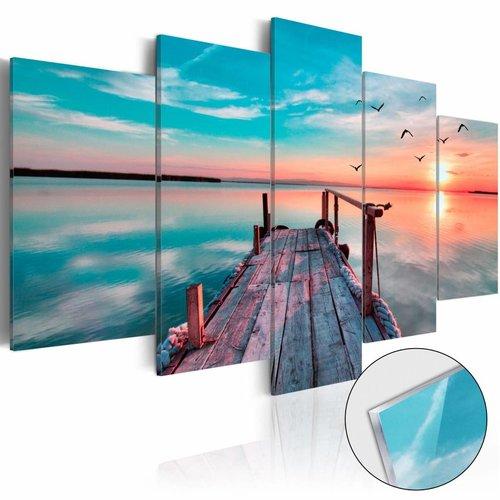 Afbeelding op acrylglas - Vergeten steiger, Blauw,   5luik